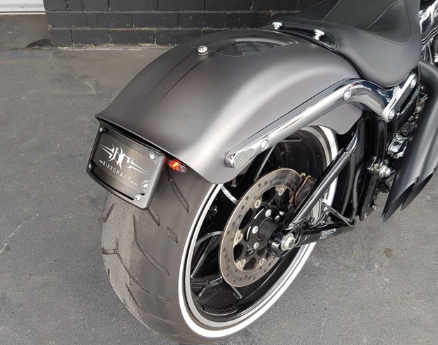 Picture of Harley Davidson Breakout 2012 to 2017 model Bikecraft Fender Eliminator / Tail Tidy with integrated stop/tail/indicator lights
